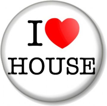 I Love / Heart HOUSE Pinback Button Badge Music Style Dance Hard Heavy Club Acid